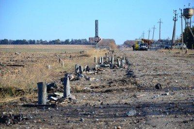 Осколки снарядов на въезде в город - Svatovo_bombs_1.jpg